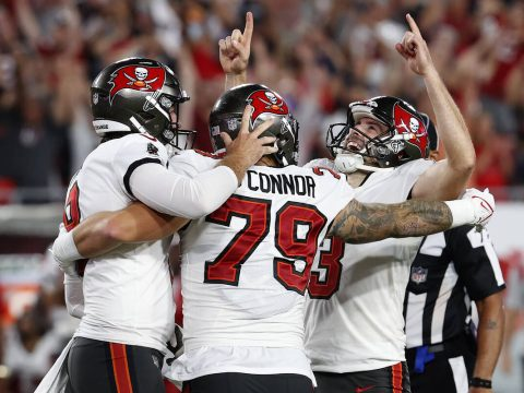 Tampa Bay Buccaneers' Ryan Succop (3) celebrates with Pat O'Connor (79) and Bradley Pinion (8) ...
