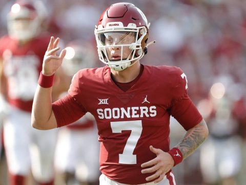 Oklahoma quarterback Spencer Rattler (7) before the start of an NCAA college football game agai ...
