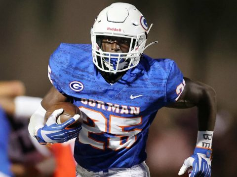 Bishop Gorman's William Stallings Jr. (25) runs the ball during the second quarter of a footbal ...