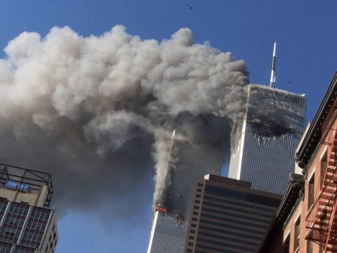 In this Sept. 11, 2001, file photo, smoke rises from the burning twin towers of the World Trade ...