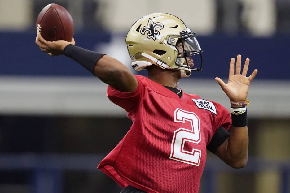 New Orleans Saints quarterback Jameis Winston (2) passes during during NFL football practice in ...