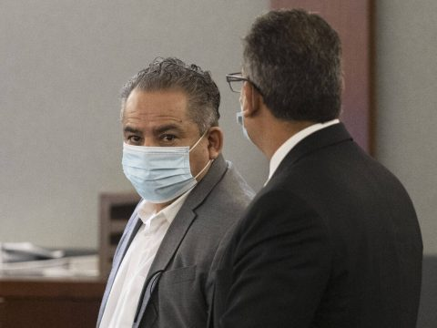 Omar Rueda-Denvers, left, and his attorney Christopher Oram appear in court during Denvers&#x20 ...