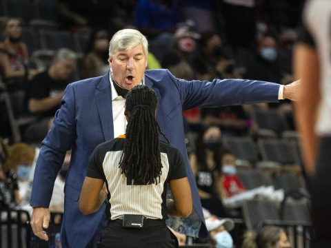 Las Vegas Aces coach Bill Laimbeer is shown during a WNBA game against the Chicago Sky at Miche ...