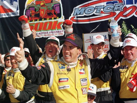 15 Sep 1996: Driver Richie Hearn celebrates his first Indy Racing League victory with his Dell ...