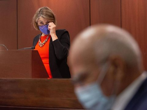 Nevada Lieutenant Governor, Kate Marshall presides over the Senate inside the chamber on the fi ...