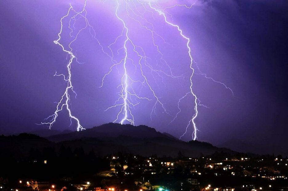 Lightning strikes in the area of Sugarloaf Ridge State Park, Thursday, Sept. 9, 2021, near Sant ...