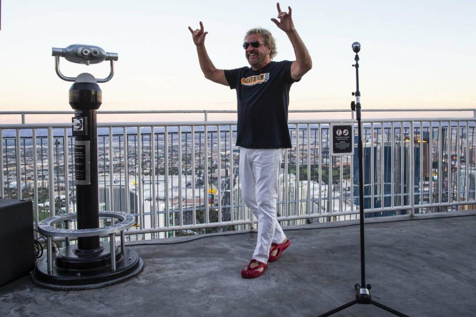 Sammy Hagar poses for pictures before talking about his newly announced residency at The Strat, ...