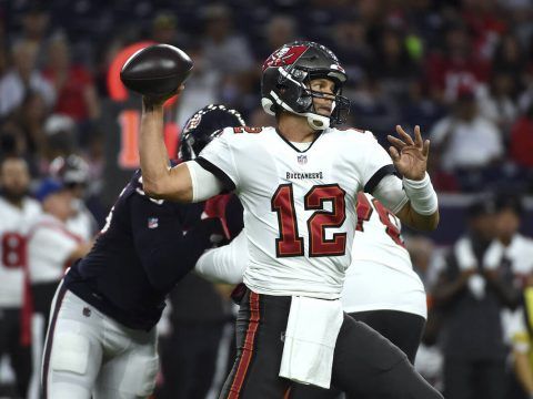 Tampa Bay Buccaneers quarterback Tom Brady (12) throws a pass against the Houston Texans during ...