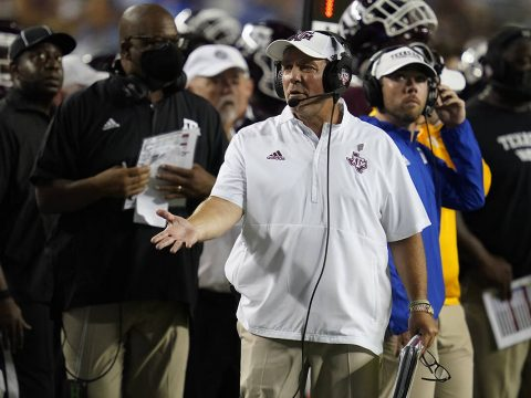 Texas A&M head coach Jimbo Fisher argues a call with a referee during the first half of an ...
