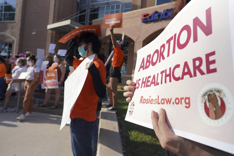 Abortion rights supporters gather to protest Texas SB 8 in front of Edinburg City Hall on Wedne ...